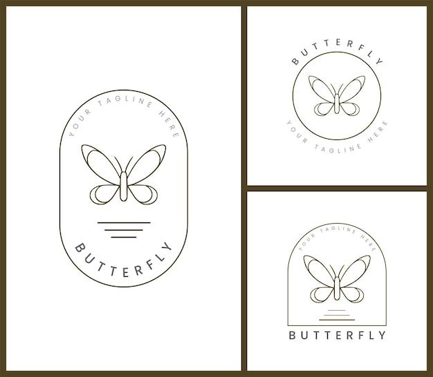 Set of feminine badge logo template for butterfly illustrations