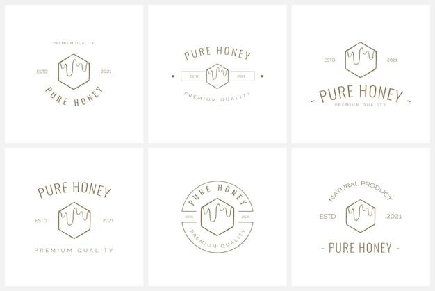 Set of feminine badge logo template for owl illustrations