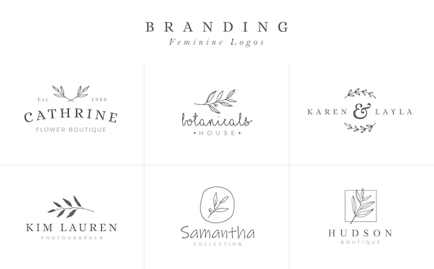Set of feminine botanical vector signs or logo templates