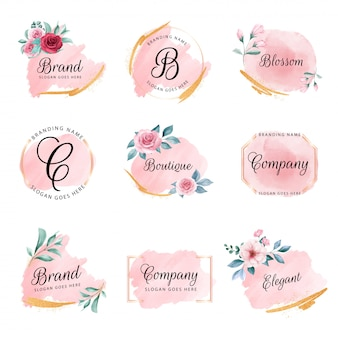 Set of feminine floral logo with peach watercolor background, flowers, and gold glitter