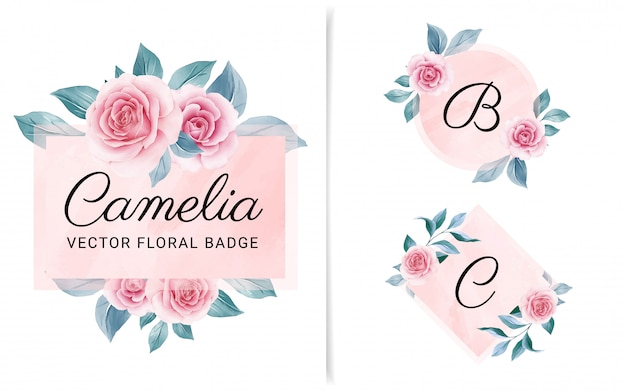 Set of feminine geometric badge with peach watercolor background and flowers