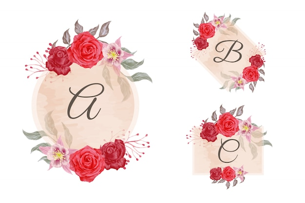 Set feminine geometric badge with peach watercolor  flowers