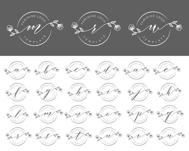 Set of feminine logo branding template vector