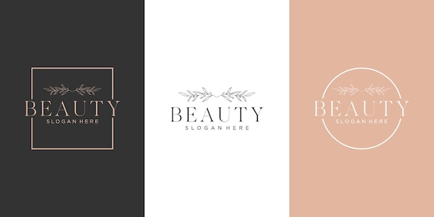 Set of feminine luxury line art beauty botanical logo design