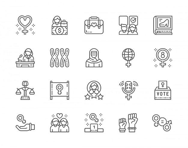 Set of feminism line icons. female protest, salary, gender gap, chromosomes, women power, lesbian couple and more.