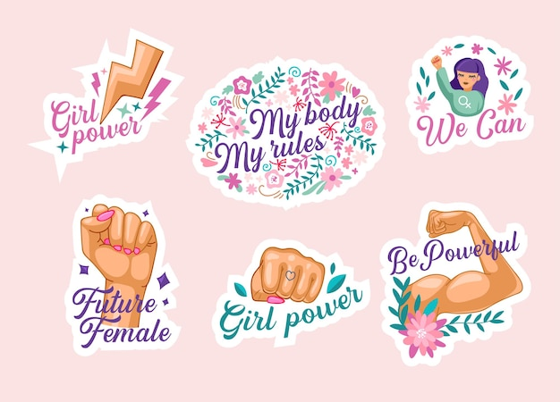 Set of feminism stickers, isolated icons with female hand show muscles, raised fist, we can motto, sisterhood international unity, fight with sex discrimination concept. cartoon vector illustration