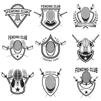 Set of fencing sport emblems, badges and  elements. fencing swords, face guard.  illustration