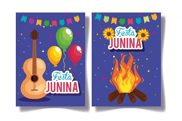 Set of festa junina greeting cards with decoration