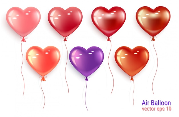 Set of festive balloons in the shape of a heart.