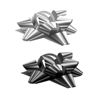 Set of festive bows of black and white colors on white background,   illustration