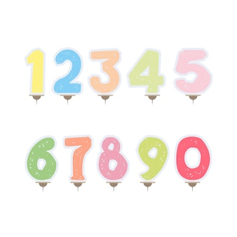 Set of festive candles in the form of numbers. candles for cake isolated on white background.