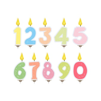 Set of festive candles in the form of numbers. candles for cake isolated