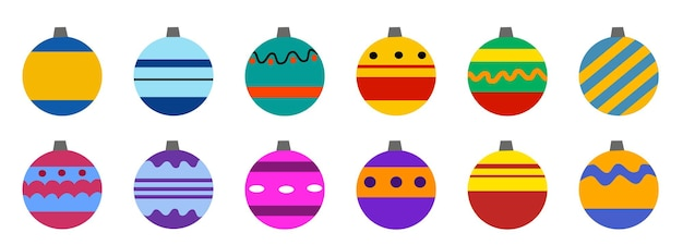 Set of festive christmas decorations for the christmas tree