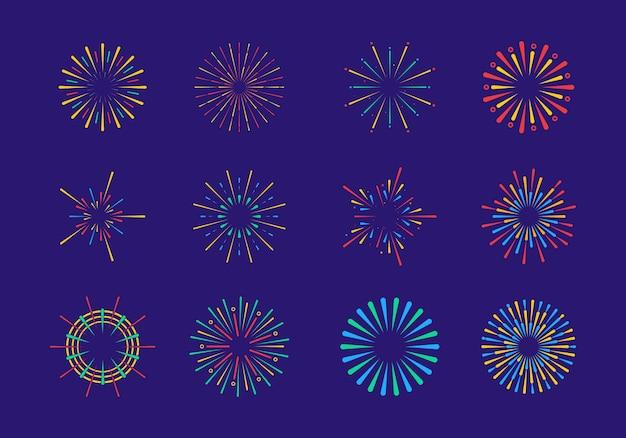 Set of festive firework. light rays of burst.