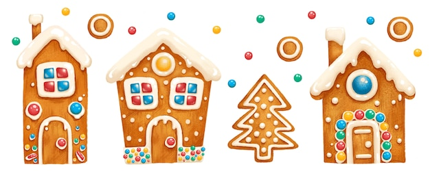 Set of festive gingerbread houses