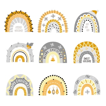 Set of festive shiny rainbows. cliparts for the design of christmas cards for children, rooms, clothes
