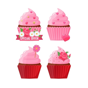 Set of festively decorated cupcakes with flowers and hearts. baking, homemade cake