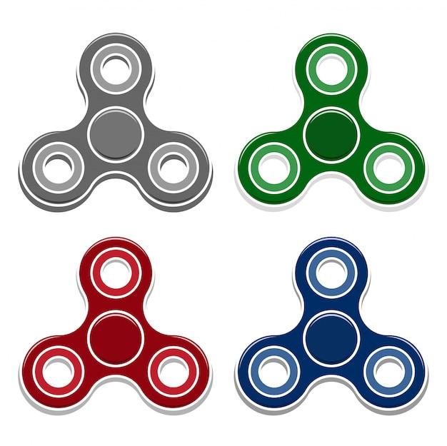 Set of fidget spinner toys.