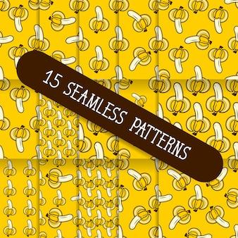 A set of fifteen seamless patterns