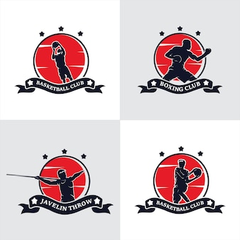 Set of fighting academy boxing champions club logo