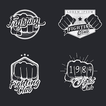 Set of fighting badges