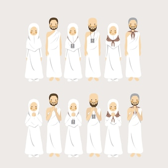 Set of figurative character muslim couple hajj and umrah as islamic pilgrimage in different identification signs