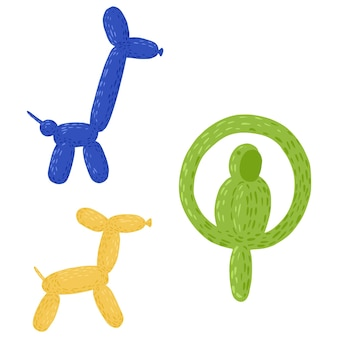 Set figures out of balloons on white background. cheerful elements dog, giraffe and parrot in blue, yellow and green color in style doodle vector illustration.