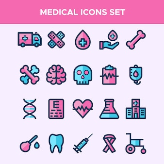Set of filled line icons in medical theme