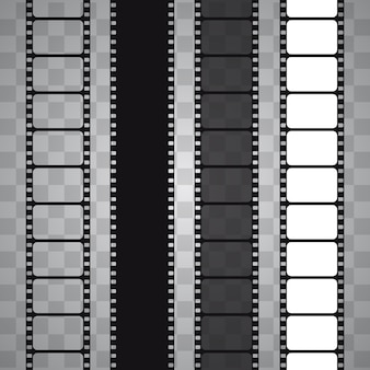 Set of  film strip isolated on transparent background