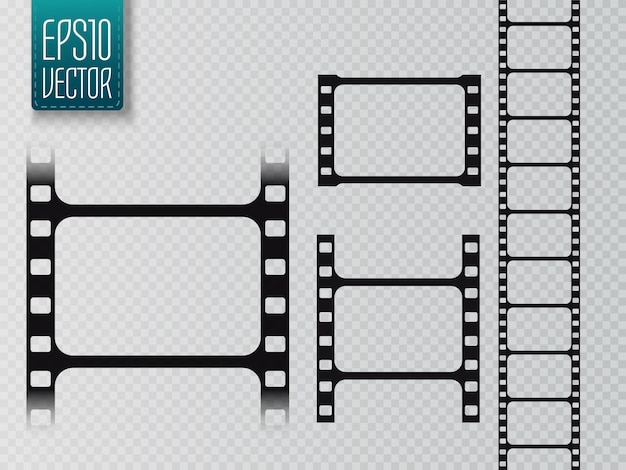 Set of film strip isolated on transparent