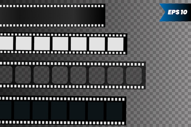 Set of film strip isolated on transparent.