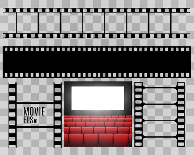 Set of film  stripes isolated on transparent background.film strip roll. vector cinema background.