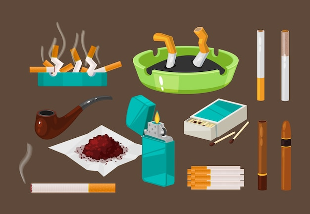 Set of filter cigarettes, cigars with tobacco in ashtray, nicotine.