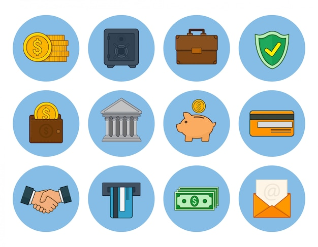 Set of finance and banking icons. vector illustration in line art style.
