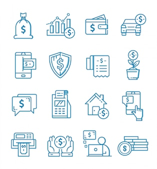 Set of finance icons with outline style