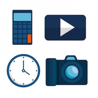 Установите финансовую стратегию в офисе с калькулятором и часами