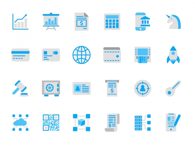 Set of financial technology icons in flat colors