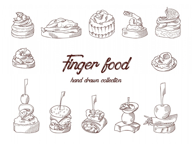 Set of finger food elements. canape and appetizes served on sticks in sketch style. catering service template. illustration