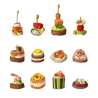 Set of finger food elements.