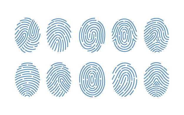 Set of fingerprints of various types isolated on white background. traces of friction ridges of human fingers. method of forensic science, person's identification. monochrome illustration