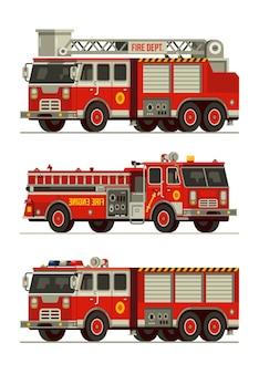 Set of fire engine truck emergency vehicle