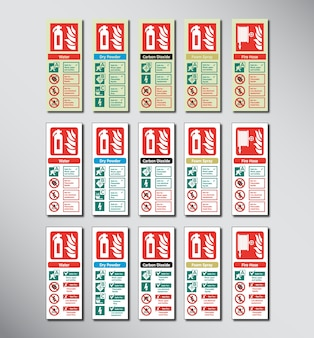Set of fire extinguisher color codes emergency sign illustration template