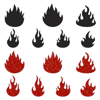 Set of fire icons  on white background.