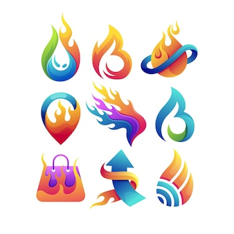 Set of fire logo with multiple concept