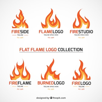 Set of fire logos