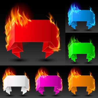 Set of fire ribbons banners