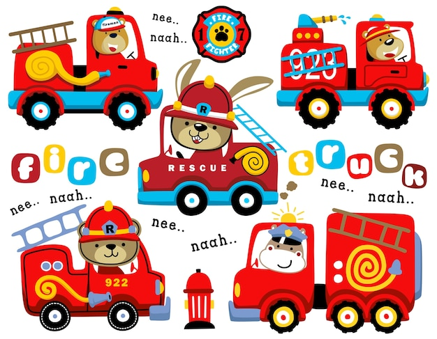 Set of fire trucks cartoon with funny driver