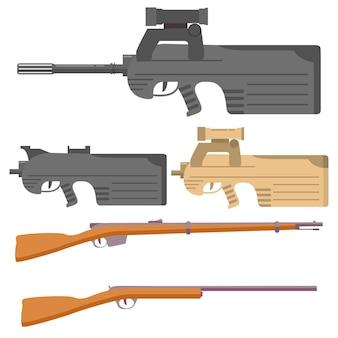 Set of firearms assault rifles sniper shotgun hunting rifle