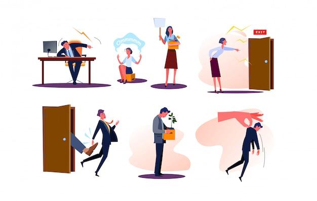 Insieme degli impiegati licenziati di uomini e donne di affari con le scatole