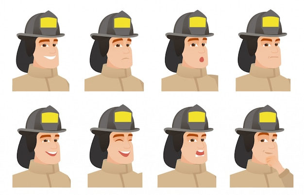 Set of firefighter characters.